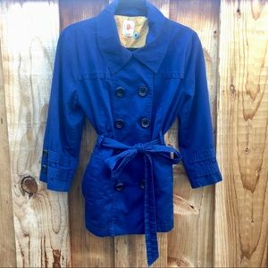 Tulle Blue Cotton Lined Short Trench Coat XL